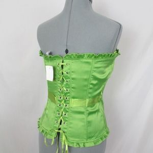 Charlotte Russe Tops - Charlotte Russe Corset top Green Satin Lacing